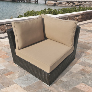 Morgan Brown Wicker Outdoor Corner Chair by Sirio