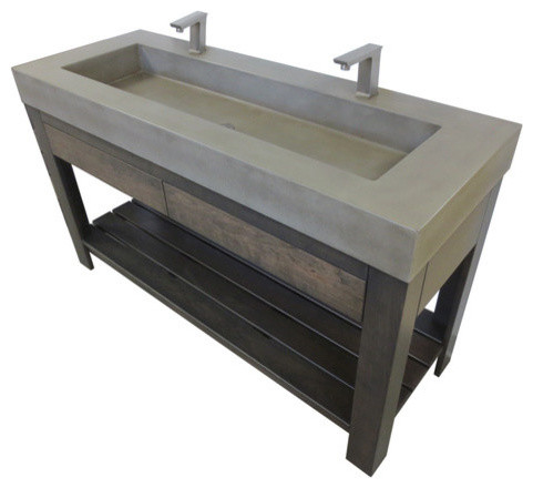 Industrial Sink : ... Lavare Rectangle Concrete Sink With Drawer industrial-bathroom-sinks