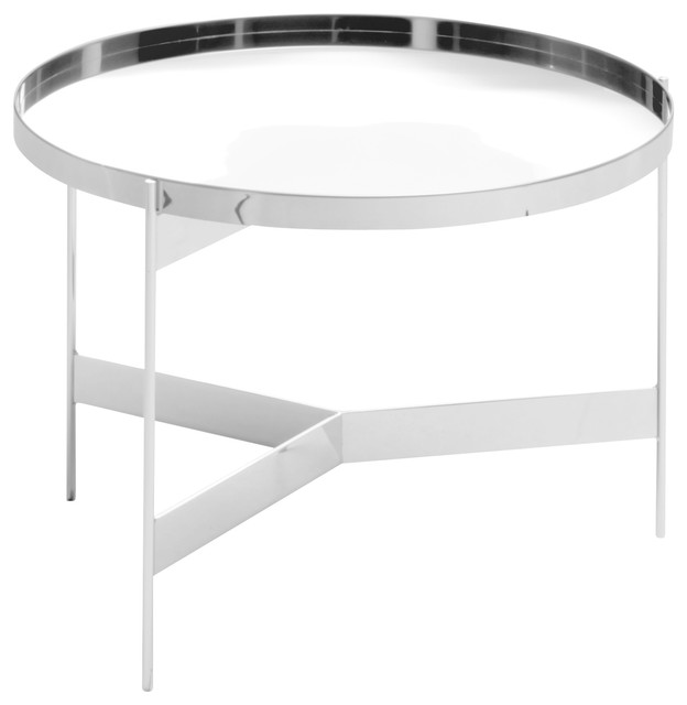 Abaco Modern Round Cocktail Table Portable Tray Chrome Contemporary Coffee Tables By