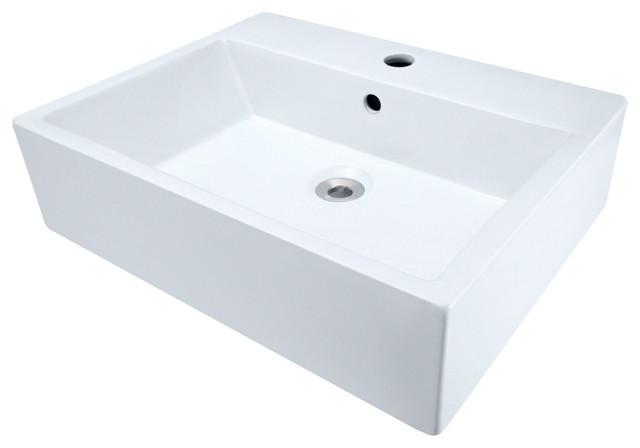 Porcelain Vessel Sink White Modern Bathroom Sink Tap Parts By Po