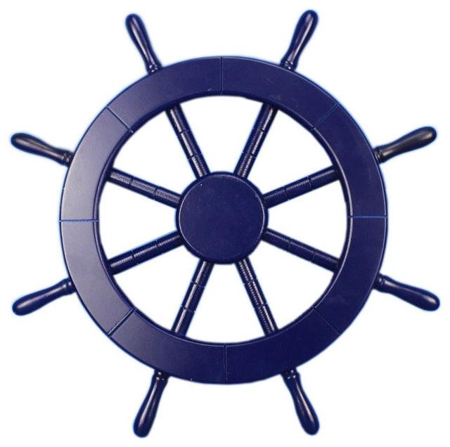 Anchor bathroom decor - Decorative Ship Wheel Dark Blue 18 Quot Beach Style Decorative Objects