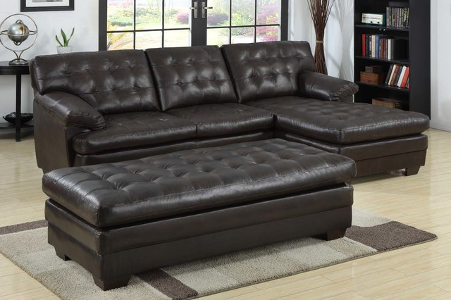 Homelegance Modern Small Tuft Dark Brown Leather Sectional