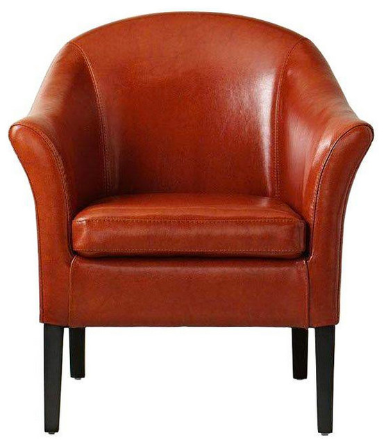 Orange Recycled Leather Club Chair Transitional