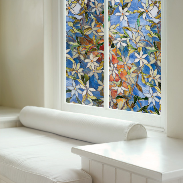 Decorative window film in clematis moderne film pour for Moderne vitrage