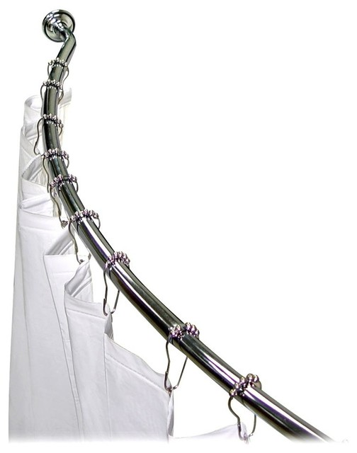 Shower Rod Set In Chrome W Hooks And Curtain Contemporary Shower Curtain Rods By Shopladder