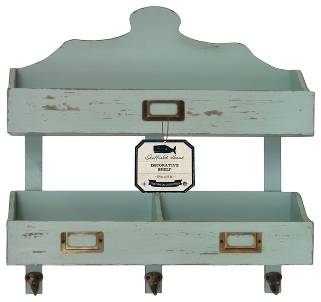 Distressed Wood 2-Tier Wall Shelf, Teal - Farmhouse - Display And Wall Shelves - by Lightaccents
