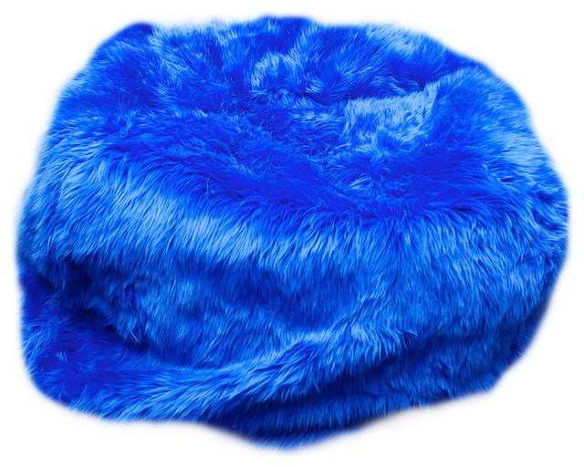 Large Beanbag Royal Blue Fuzzy Fur Contemporary Bean