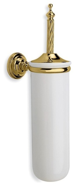 Wall Mounted Round Classic Style Ceramic Toilet Brush Holder Gold Traditional Toilet Accessories