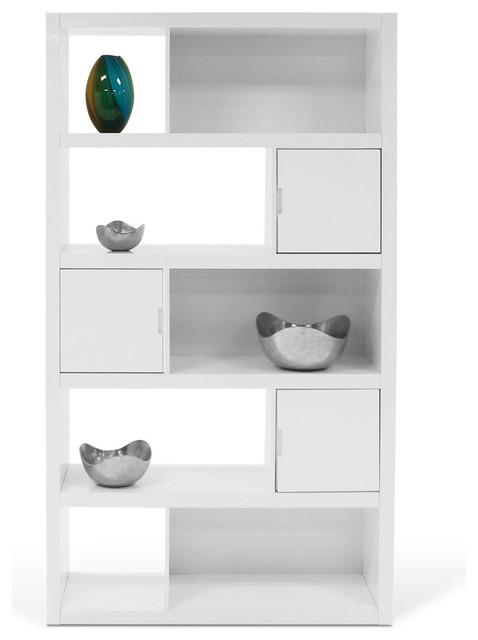 Keaton High-Gloss Bookcase, White