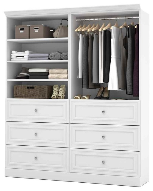 71.6 in. Classic Wardrobe in White - Contemporary - Closet ...