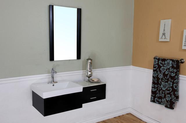 Bellaterra 203105 45 8 in single sink vanity wood black for Bathroom ideas 5x12