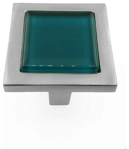 Viridian Green Crystal Glass Brushed Nickel Square Manor Knob - Contemporary - Cabinet And ...