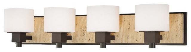 Vanity Lights Stone : Minka Lavery Travertine Aged Stone 4 Light Vanity - Bathroom Wall Lights - by Littman Bros Lighting