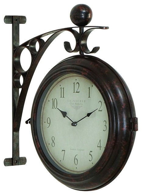 Train station style wall hanging black metal round clock for Train station style wall clock