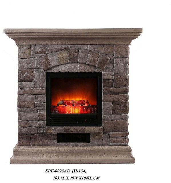 Faux Stone Portable Fireplace Large Rustic Tabletop