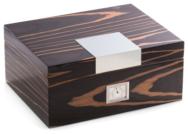 Lacquered Wood 60 Cigar Humidor - Traditional - Decorative Boxes - by Bey-Berk International