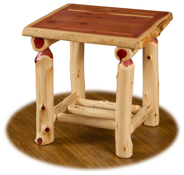 Rustic Red Cedar Log End Table Rustic Side Tables And End Tables By Furniture Barn Usa