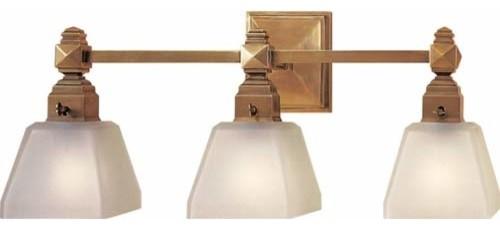 New 3 Light Bathroom Vanity Lighting Fixture Antique Brass: Antique Brass Normandie Faceted Three-Light Fixture