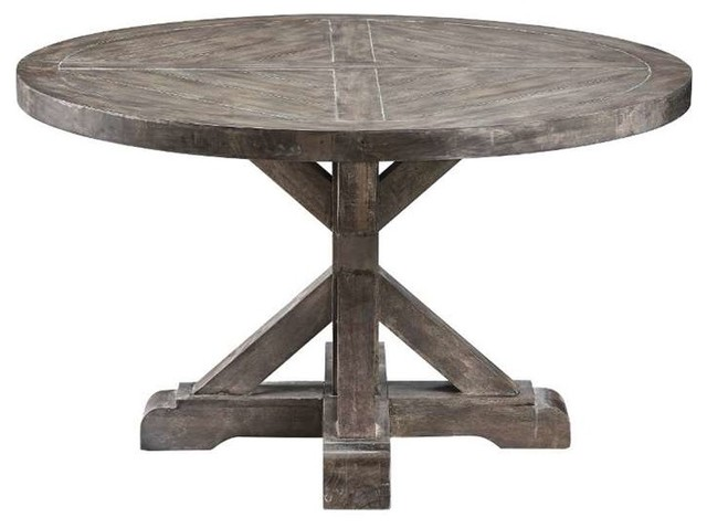 Stein world bridgeport round cocktail table weathered for Round weathered coffee table