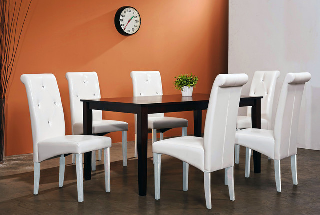 Warehouse Of Tiffany 7 Piece White Dining Room Set Contemporary Dining Se
