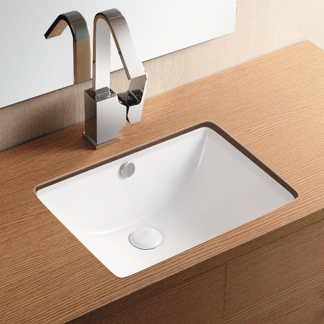 Rectangular white ceramic undermount bathroom sink contemporary bathroom sinks by for White rectangular undermount bathroom sink