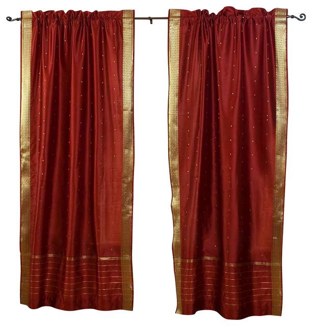 Rust Rod Pocket Sheer Sari Cafe Curtain / Drape / Panel