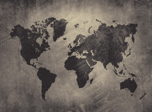 World map wallpaper industrial wallpaper by the for Black and white world map wall mural