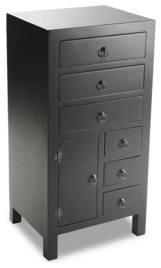 matmata chiffonnier bois 6 tiroirs 1 porte noir asiatique commode et chiffonnier par inside75. Black Bedroom Furniture Sets. Home Design Ideas