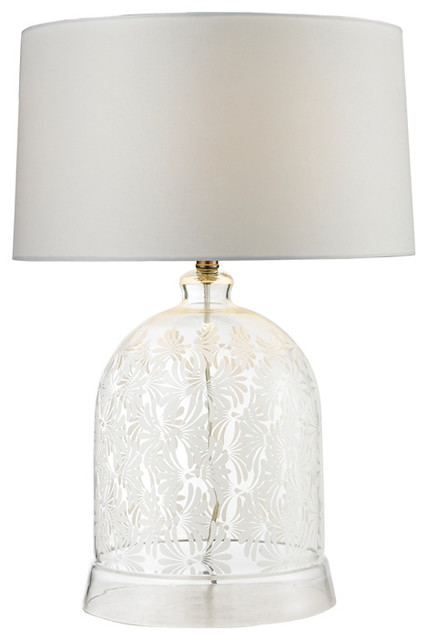 Landscape Painted Bell Glass Table Lamp Clear And White Contemporary Table Lamps By