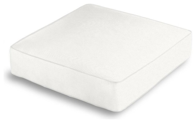 White Cotton Twill Box Floor Pillow With White Trim, White and White - Contemporary ...