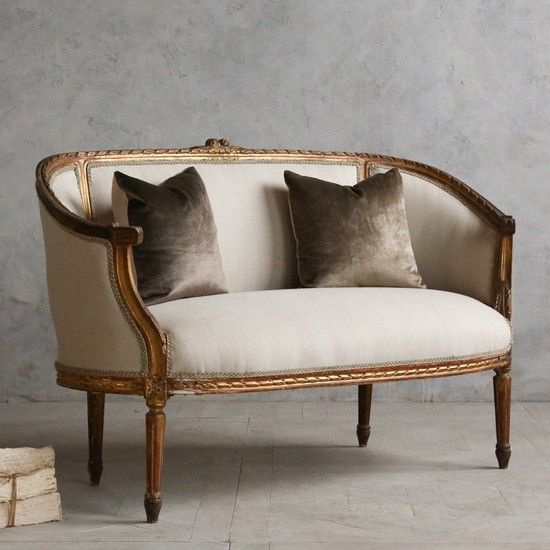 Classic vintage louis xvi style canape settee mediterranean loveseats los angeles by the Antique loveseat styles
