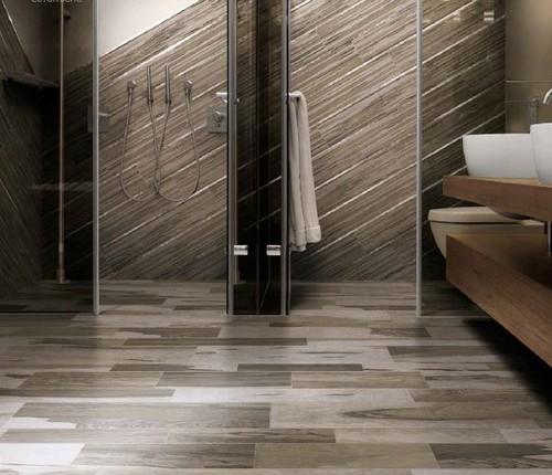 Can tile that looks like an exotic hardwood replace the - Salle de bain sur plancher bois ...