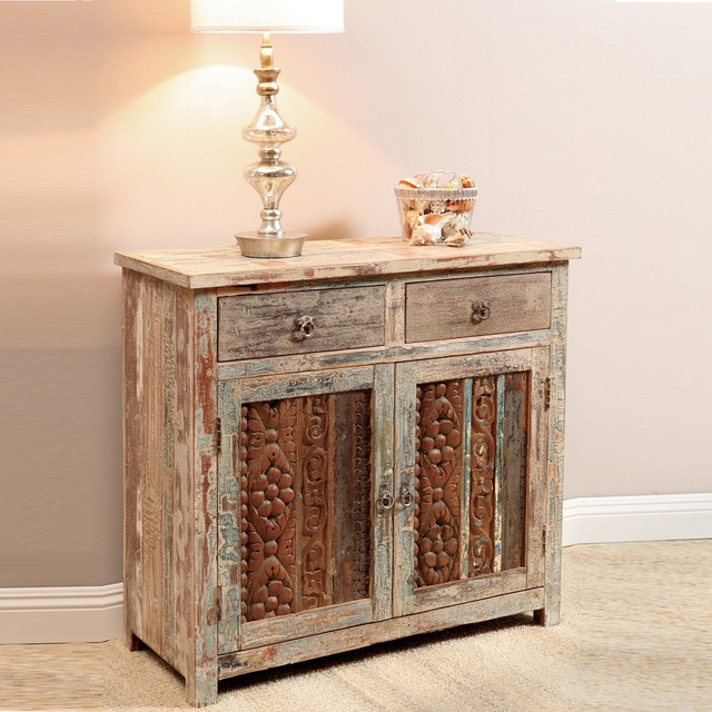 Vintage wood block small sideboard eclectic buffets