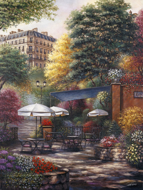 Park cafe wall mural traditional wallpaper for Cafe mural wallpaper