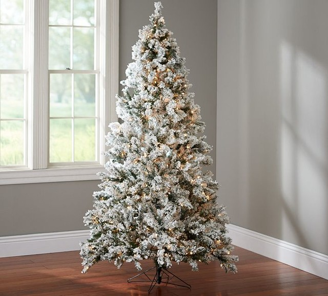 Faux Flocked Lighted Tree Contemporary Christmas Trees