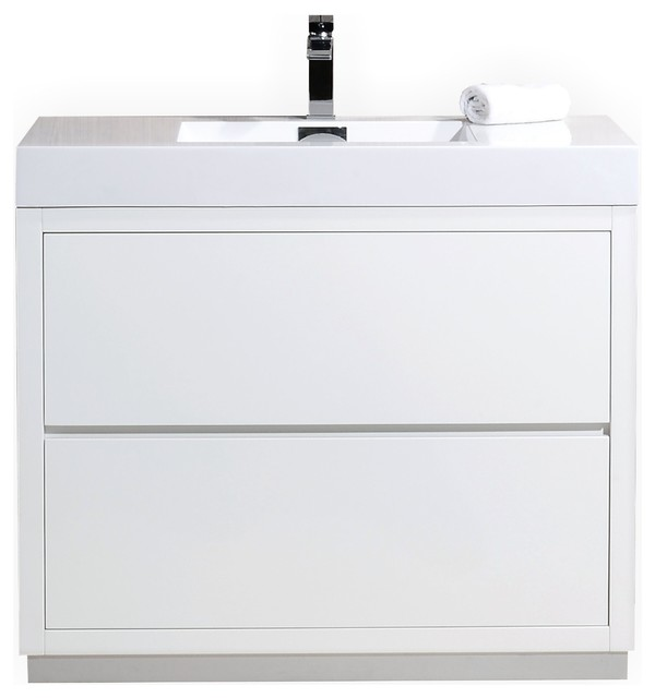 Kubebath Bliss Floor Mount Bathroom Vanity 40 White