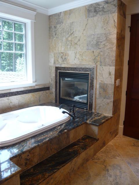 Master Bathroom Fireplace And Bathtub Bathroom Seattle