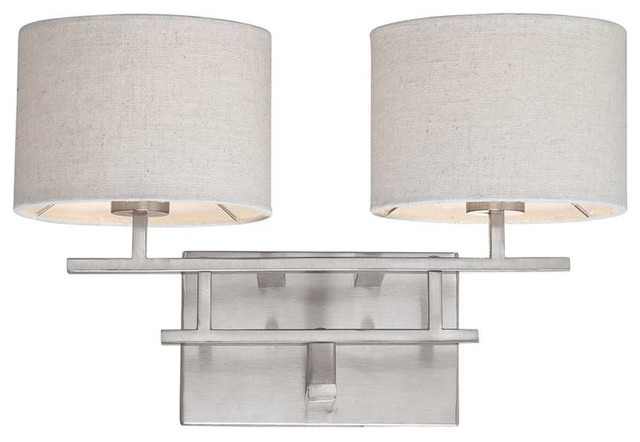 Nuvo Lighting Percussion 2-Light Vanity with Beige Fabric Shades - Traditional - Bathroom Vanity ...