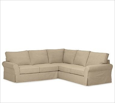 PB fort Roll Arm 3 Piece L Shaped Corner Sectional