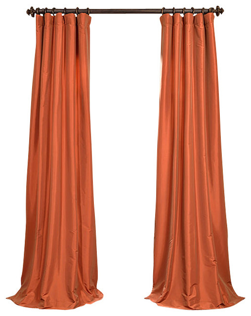 Harvest Orange Faux Silk Taffeta Curtain Traditional Curtains By Half Price Drapes