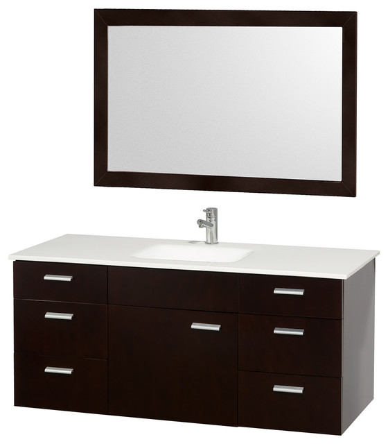 Encore Single Espresso 52 inch Vanity with Mirror