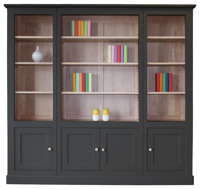 biblioth que 4 portes collection roma ch ne blanchi. Black Bedroom Furniture Sets. Home Design Ideas