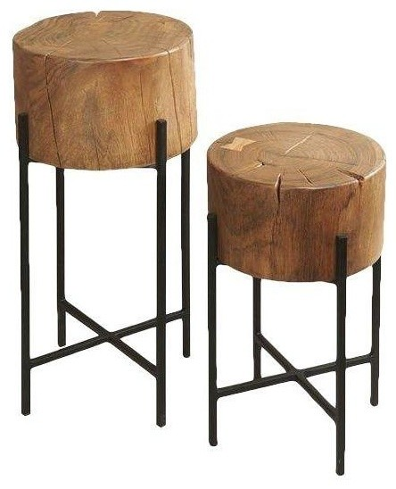 Wood Payne Side Tables Set Of 2 Rustic Coffee Table Sets By Chairish