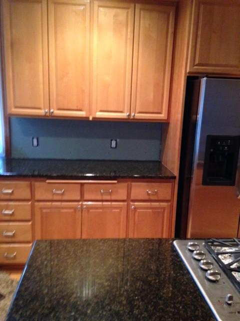 Need help updating my light wood alder cabinets and backsplash