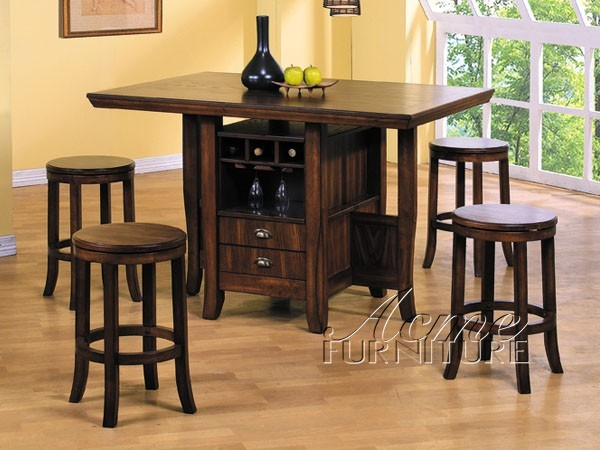 Acme furniture heritage hill 5 piece counter height for Traditional kitchen table sets
