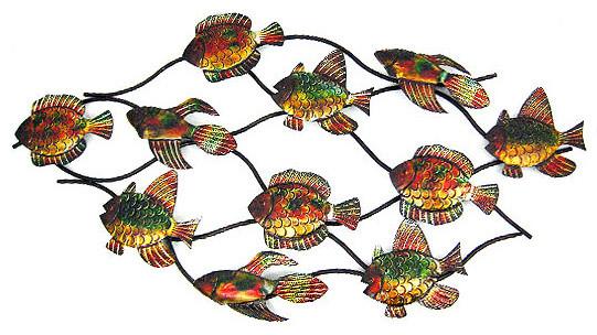 43 inch metal school of fish wall hanging nautical beach for School of fish metal wall art