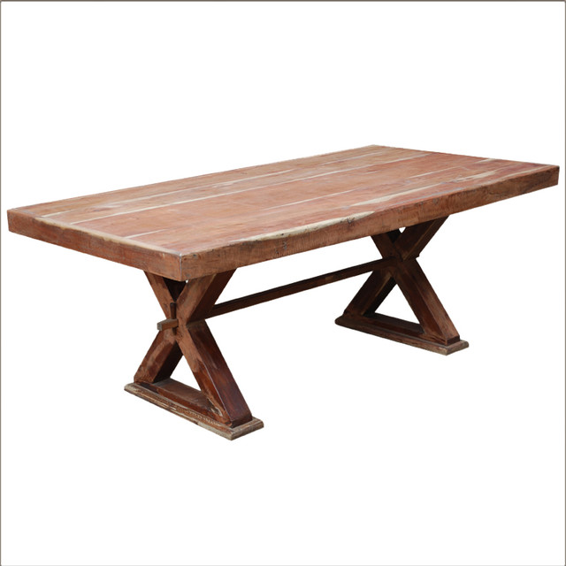Rustic solid wood double x pedestal rectangular dining room table rustic dining tables san - Pedestal dining table rectangular ...