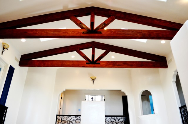 Vaulted ceiling with exposed beam trusses mediterranean for Vaulted ceiling with exposed trusses