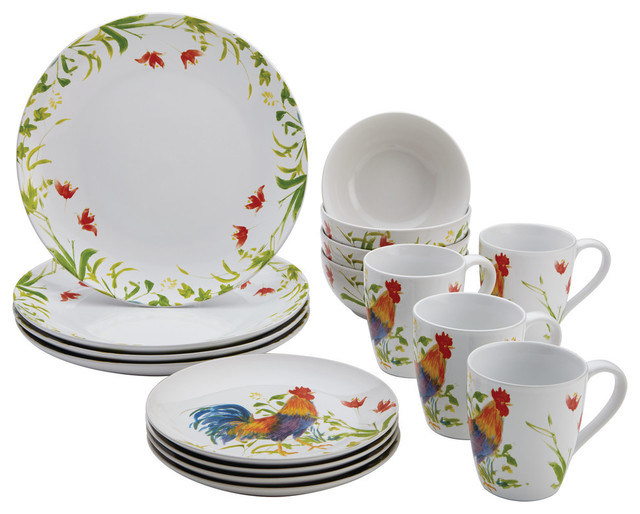 Dinnerware Meadow Rooster Stoneware 16 Piece Set Farmhouse Dinnerware Set