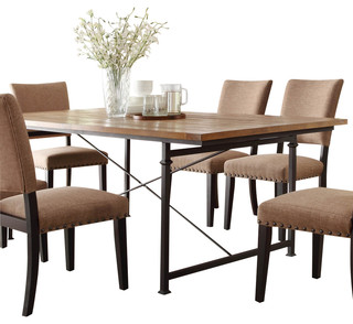 Homelegance derry dining table with wrought iron base for Traditional dining table bases